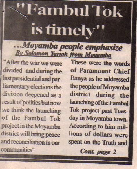 Launch in Moyamba, p. 1