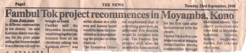 Moyamba launch, The News, p. 2